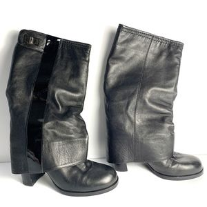 Chanel Women's Black Heeled Boots Size 35 1/2